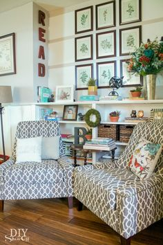 Create a reading nook in your home. Include a couple of comfy armchairs and a large bookcase.