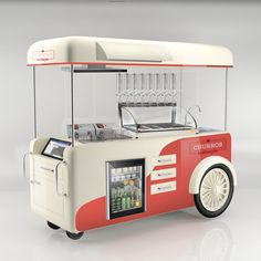 Mobile Coffee Cart, Mobile Food Cart, Mobile Coffee Shop, Food Stall Design, Food Cart Design, Food Truck Design, Food Kiosk, Ice Cream Cart, Food Truck Business