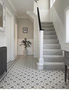 Tiled Hallway, Hallway Carpet, Hallway Wall Decor, Stair Decor, Carpet Stairs, Hallway Decorating, Hallway Ideas, Grey And White Hallway, 1930s House Renovation