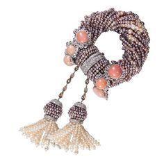 Conch Pearl Diamond Bracelet ❤ liked on Polyvore featuring jewelry, bracelets, bangle jewelry, diamond fine jewelry, fine jewelry, diamond jewellery and hinged bangle