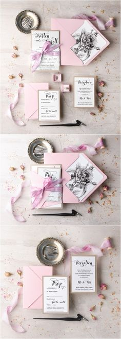 rustic pink spring /summmer wedding invitations @4LOVEPolkaDots