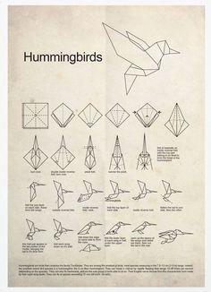 Colibrí de Origami A3 Poster Print por Posterinspired en Etsy