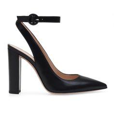 DEVA SLINGBACK (13,140 EGP) ❤ liked on Polyvore featuring shoes, pumps, black high heel slingbacks, leather pumps, black high heel pumps, black slingback pumps and sling back pumps