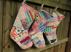 quilted christmas stockings | Vintage Quilt Christmas Stockings - Holiday Stocking - ... | Christmas