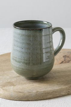 This handmade large white pottery mug is great for that extra shot of coffee tea. Slab Pottery, Pottery Wheel, Pottery Mugs, Ceramic Pottery, Thrown Pottery, Pottery Ideas, Clay Mugs, Ceramic Mugs, Ceramic Art