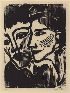 Emil Nolde 1867-1956 :  DOPPELBILDNIS Woodcut. 1937.