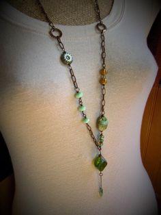 Artisan Beaded Necklace  Asymmetrical Beaded by AllowingArtDesigns