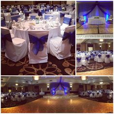 Royal blue and white hall Wedding decoration with backdrop and spot lights