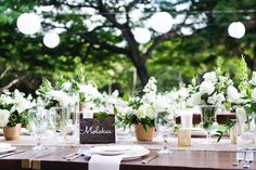 Beautiful table settings and flowers add to the ambience at The Olowalu Plantation House.