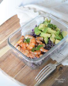 Salade de quinoa au chou rouge, avocat, crevettes et coriandre  4 déjeuners healthy et IG bas à emporter 4 healthy lunchboxes ideas