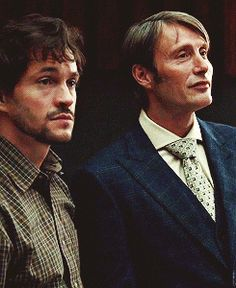 Will Graham & Dr. Hannibal Lecter (this gif sums up their personalities perfectly) Hannibal Lecter, Nbc Hannibal, Mads Mikkelsen, Hannibal Tv Series, Sir Anthony Hopkins, Bryan Fuller, Will Graham, Hugh Dancy, Thriller