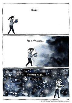 """""""Books are a uniquely portable magic."""" Stephen King quotes libros Books are portable magic I Love Books, Good Books, Books To Read, My Books, Book Memes, Book Quotes, Bookworm Quotes, Literature Quotes, Movie Quotes"""
