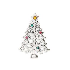 Sterling Silver Christmas Tree with Colorful Crystals Pin/Pendant Your New England. $49.95. .925 Sterling Silver. Christmas Tree Pin Pendant. features 3mm yellow, green, red, and pink crytals. Measures 42mm x 29mm