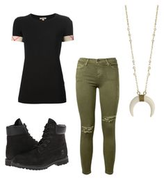 """Untitled #83"" by destinyaldridge on Polyvore featuring Current/Elliott, Burberry and Timberland"