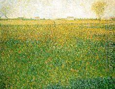 """Georges Seurat, """"Alfalfa Fields, Saint-Denis,"""" oil on canvas. Dots of color mix optically in this painting. Paul Signac, Paul Gauguin, Georges Seurat, Claude Monet, Vincent Van Gogh, Seurat Paintings, Foto Portrait, Lucerne, Renoir"""