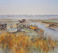 David Howell PPRSMA, The End of the Line, Watercolour, On display at Mall Galleries from 11 to 16 September 2018 in The Royal Society of Marine Artists: Prelude. Watercolor Landscape, Watercolour Paintings, Watercolours, David Howell, End Of The Line, Royal Society, Your Paintings, Galleries, Mall