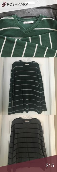 Two Old Navy Men's Shirts Both shirts are in good condition.  Very very little pilling -you'd have to really look to see it.  One is dark green with gray stripes and the other is dark gray with black stripes. Old Navy Shirts
