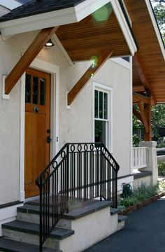 Share with your friends changed entrance porch design Front Door Overhang, Front Porch Steps, Small Front Porches, Side Porch, Side Door, Front Entry, Portico Entry, Back Steps, Front Porch Design