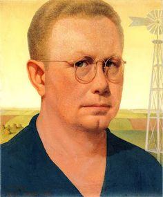 Self Portrait  by Grant Wood............. He looks like Milton from Walking Dead....