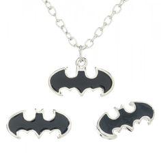 DC Comics Batman Logo Harley Quinn Necklace Bling Logo Punk Gothic Rhinestone