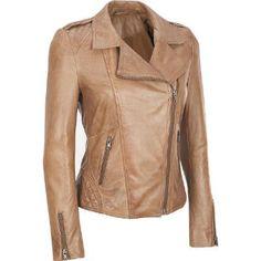 <ul><li>Shell: Genuine leather</li><li>Lining: 100% cotton (body); 100% polyester (sleeves)</li><li>Asymmetrical-zip front; notch collar</li><li>Zippered cuffs</li><li>Two diagonally zippered front pockets</li><li>Quilted shoulders with braided epaulets; quilted waist</li><li>Fully lined interior with one open pocket</li><li>Send to professional leather cleaner only</li><li>Made in India</li></ul>