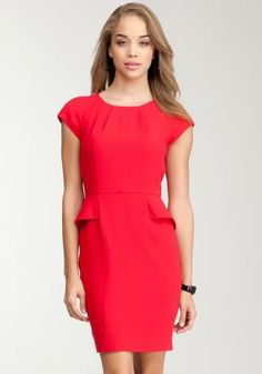 Debbie Crepe Peplum Red Dress