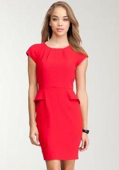 Debbie Crepe Peplum Red Dress