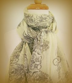 Lemon large summer scarf in lightweight breathable cotton with swirling organic bohemian henna tattoo design in pale dove grey. Pale vintage shades of sweet lemonade yellow and pale dove grey combine in this delicate diaphanous large lightweight and soft summer scarf. $40.00