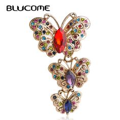 Blucome Red Crystal Butterfly Brooches Vintage Corsages Brooch Sweater Shoulder Scarf Pin Dress Clip Women Girls Broches Jewelry #Affiliate