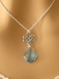 Blue Crystal Celtic Knot Necklace Baroque by martywhitedesigns, $32.00