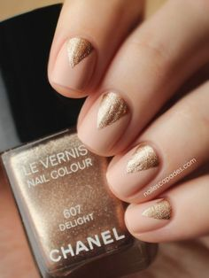 A manicure is a cosmetic elegance therapy for the finger nails and hands. A manicure could deal with just the hands, just the nails, or Golden Nail Art, Golden Nails, Minimalist Nails, Hair And Nails, My Nails, Triangle Nails, Bridesmaids Nails, Nail Polish Trends, Nude Nails