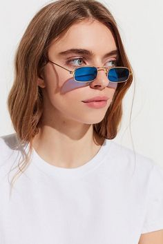 1d9c4295523 Chic fashionable 90s vintage blue tiny rectangle sunglasses street style  inspiration for women this spring .
