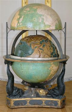 This terrestrial and celestial globe supported by a triangular base was commissioned in 1786 by Louis XVI to be used during the geography instructions with his son the Dauphin. It was delivered to Versailles in 1788.