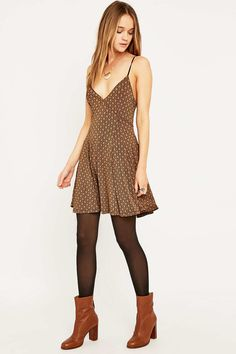 Shop Silence + Noise Lonnie Brown Dress at Urban Outfitters today. Brown Tights, Black Tights, Fall Leggings, Tight Leggings, Urban Dresses, Nice Dresses, New Dress Pattern, Bodycon Outfits, Winter Dress Outfits