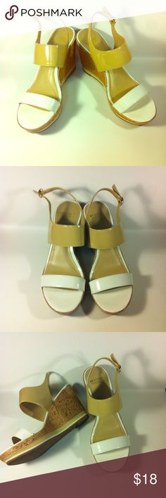 "Mootsies tootsies white & cream wedge sandals sz 8 Mootsies tootsies white and cream wedge sandals size 8. Good condition little scuff on sole as pictured. Heel height is 3"" Mootsies Tootsies Shoes Wedges"