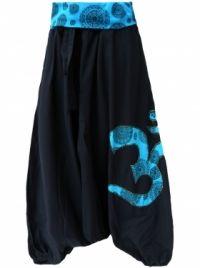 Sarouel noir bleu motif Ohm coton népalais