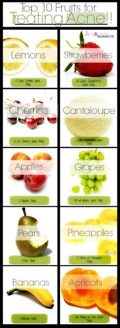The author came up with 10 different fruits that help to fight acne, stimulate collagen, and flush the toxins out of the skin—keeping it young, clean, fresh and blemish free! For more details on each acne fighting fruit, visit : 10 Acne Fighting Fruits *****
