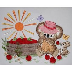 Apple Harvest Fuzzy Girl | Machine Embroidery Designs