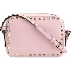 Valentino Garavani Rockstud Crossbody Bag (14.930 ARS) ❤ liked on Polyvore featuring bags, handbags, shoulder bags, purses, pink, valentino handbags, handbags crossbody, shoulder strap handbags, crossbody purse and pink crossbody