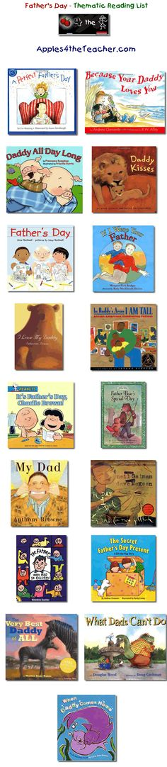 Suggested thematic reading list for Father's Day - Fathers Day books for kids.
