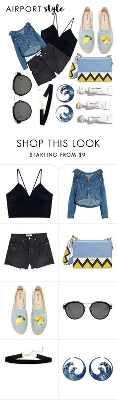 """""""My outfit to airport"""" by dessyaramadhanti ❤ liked on Polyvore featuring Balenciaga, Frame, Prada, Soludos and Christian Dior"""