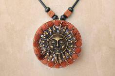 Orgone Orgonite Pendant Sun, EMF Protection, Energy Healing, Spiritual Jewelry, Goldstone, Clear Quartz, Calcite