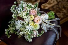 Whimsical white pink and yellow bouquet with gold ribbon. Found on Modern Jewish Wedding Blog | Classic Orthodox Modern Jewish Wedding in Quebec |