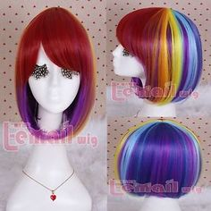 Party City Hair Mix Color Anime Straight Rainbow Bob Cosplay Short Wig ML181 | eBay