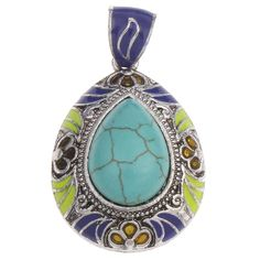 Gemstone Pendants Jewelry, Zinc Alloy, with Gemstone, Teardrop, antique silver color plated, different materials for choice & enamel, more colors for choice, lead & cadmium free, 25x35x12mm,china wholesale jewelry beads