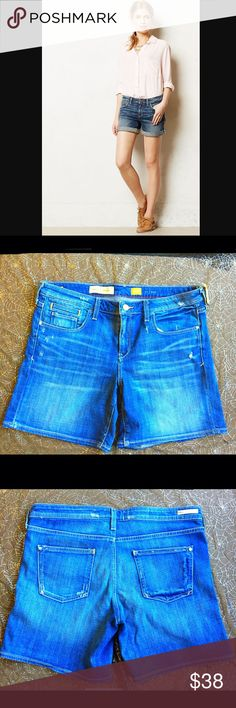 Anthropologie Pilcro and the Letterpress Shorts Pilcro and the Letterpress Denim Shorts by Anthropologie. Factory Made Distress. Zip Fly. Button Closure. Size 30. Excellent Condition. Cuffed Ends. Pictured With and Without Cuffings. Anthropologie Shorts Jean Shorts