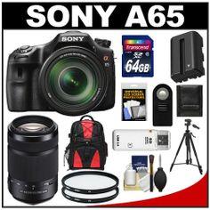 Sony Alpha SLT-A65 Translucent Mirror Technology Digital SLR Camera Body & 18-135mm Lens with 55-300mm Lens +...