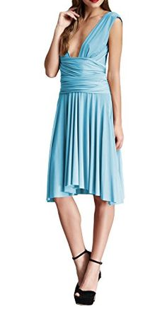 VON VONNI Womens Powder Blue Transformer Wrap Dress Short One Size VVS101 * Learn more by visiting the image link. Note: It's an affiliate link to Amazon.