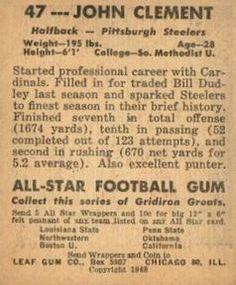 1948 Leaf #47 John Clement Back