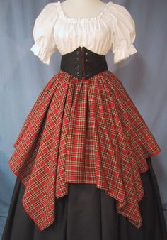 time traveler dress Overlay Skirt for Costume - Red Tartan Plaid - Renaissance Faire - Scottish Festival - Handmade Renaissance Fair Costume, Medieval Costume, Renaissance Clothing, Historical Clothing, Scottish Dress, Scottish Clothing, Scottish Costume, Vintage Outfits, Vintage Fashion